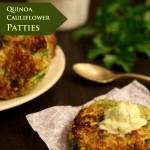 Quinoa Cauliflower Patties with Garlic Cream