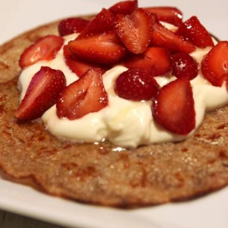Strawberries & Cream Quinoa Dessert Crepes