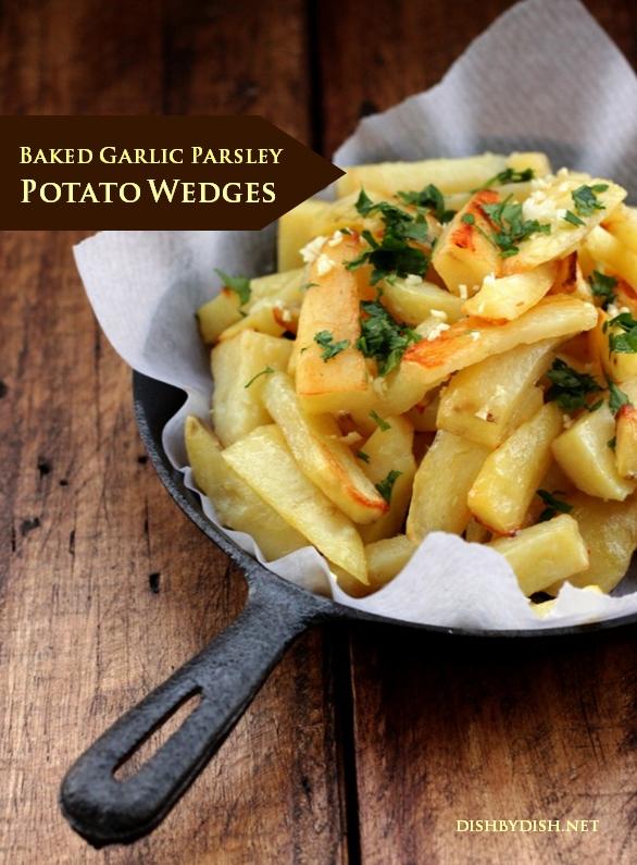 Baked Garlic Parsley Potato Wedges