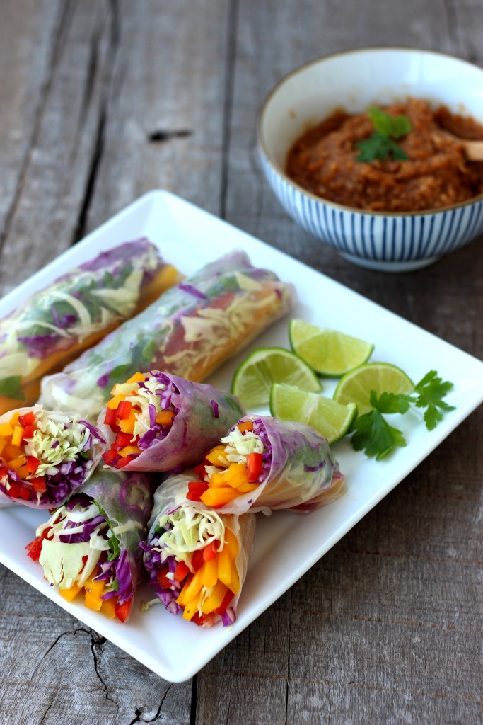 Rainbow Vegetable Rolls & Spicy Peanut Sauce