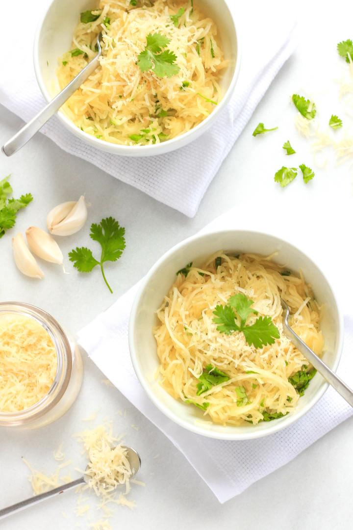 Garlic Cilantro Spaghetti Squash Bowls