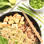 Brown Rice Noodles with Bok Choy, Mushrooms & Tofu