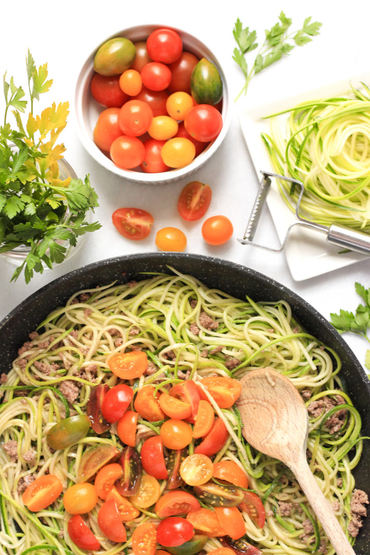 Zucchini Noodles with Minced Beef & Mini Heirloom Tomatoes