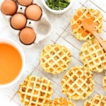 Mashed Potato and Spring Onion Waffles with Roasted Red Pepper Sauce