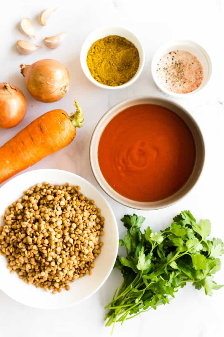 Slow Cooker Lentil Curry ingredients