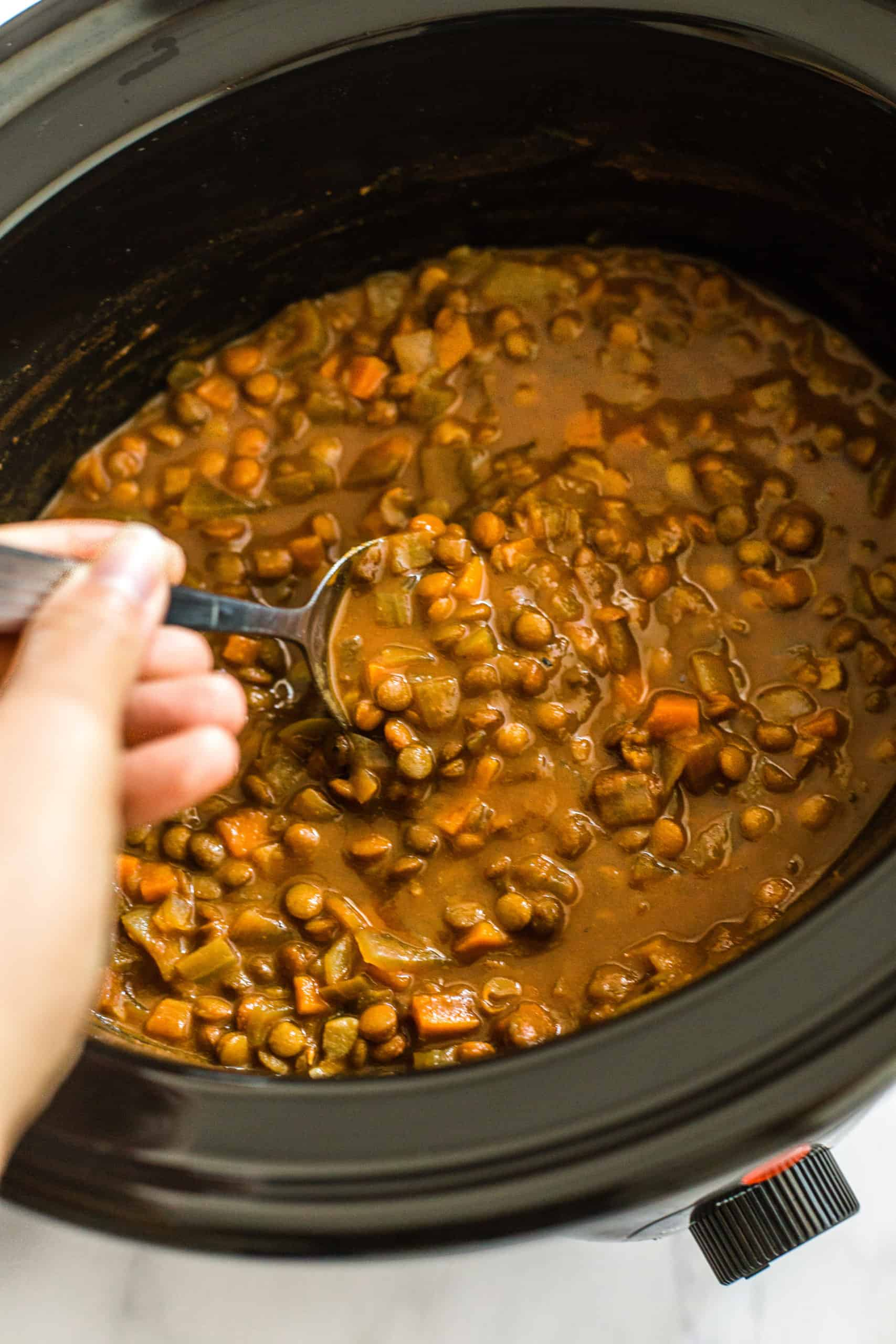 slow cooker lentil curry all cooked in the slow cooker