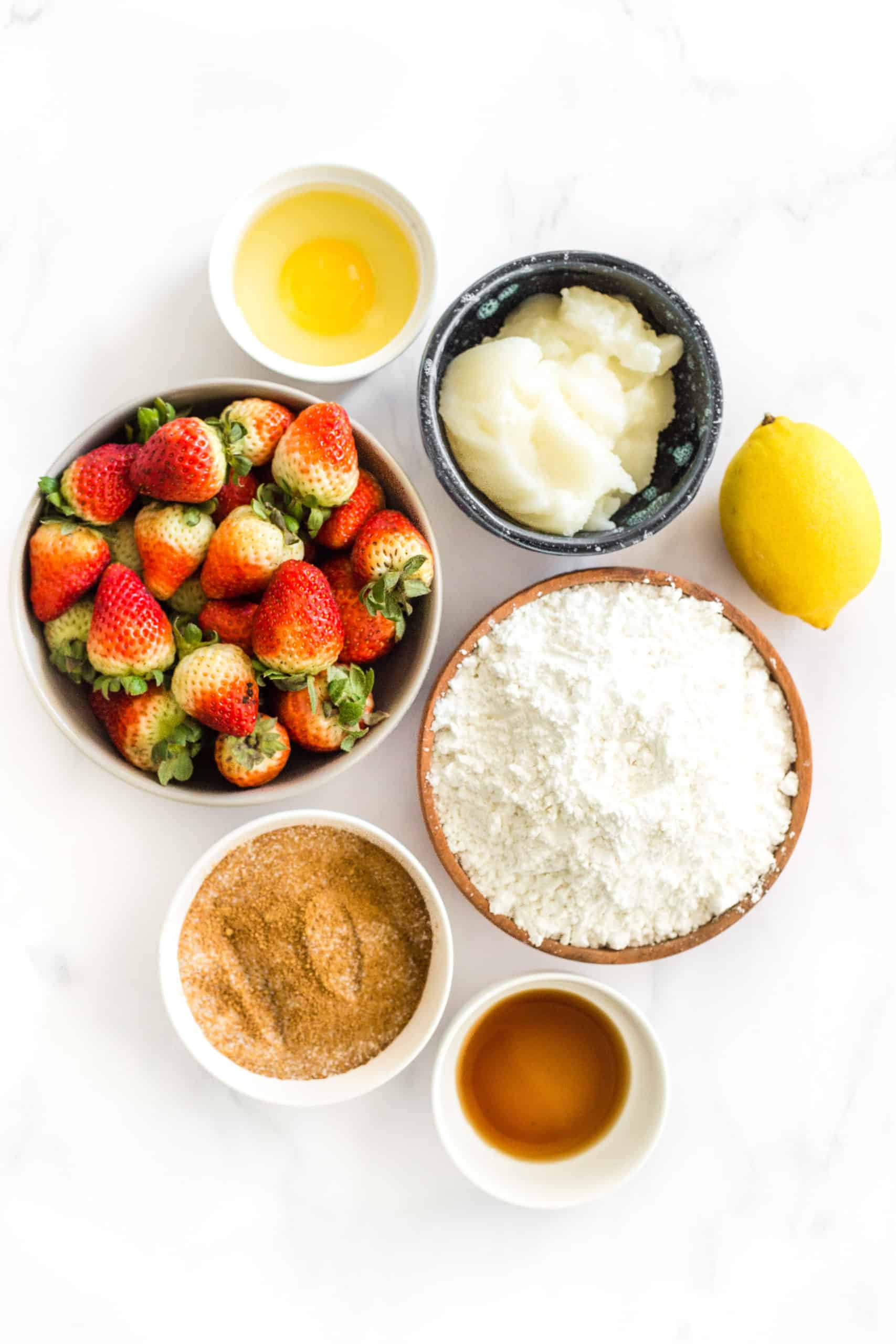 Ingredients for Gluten-Free Strawberry Crumb Bars (Dairy-Free)