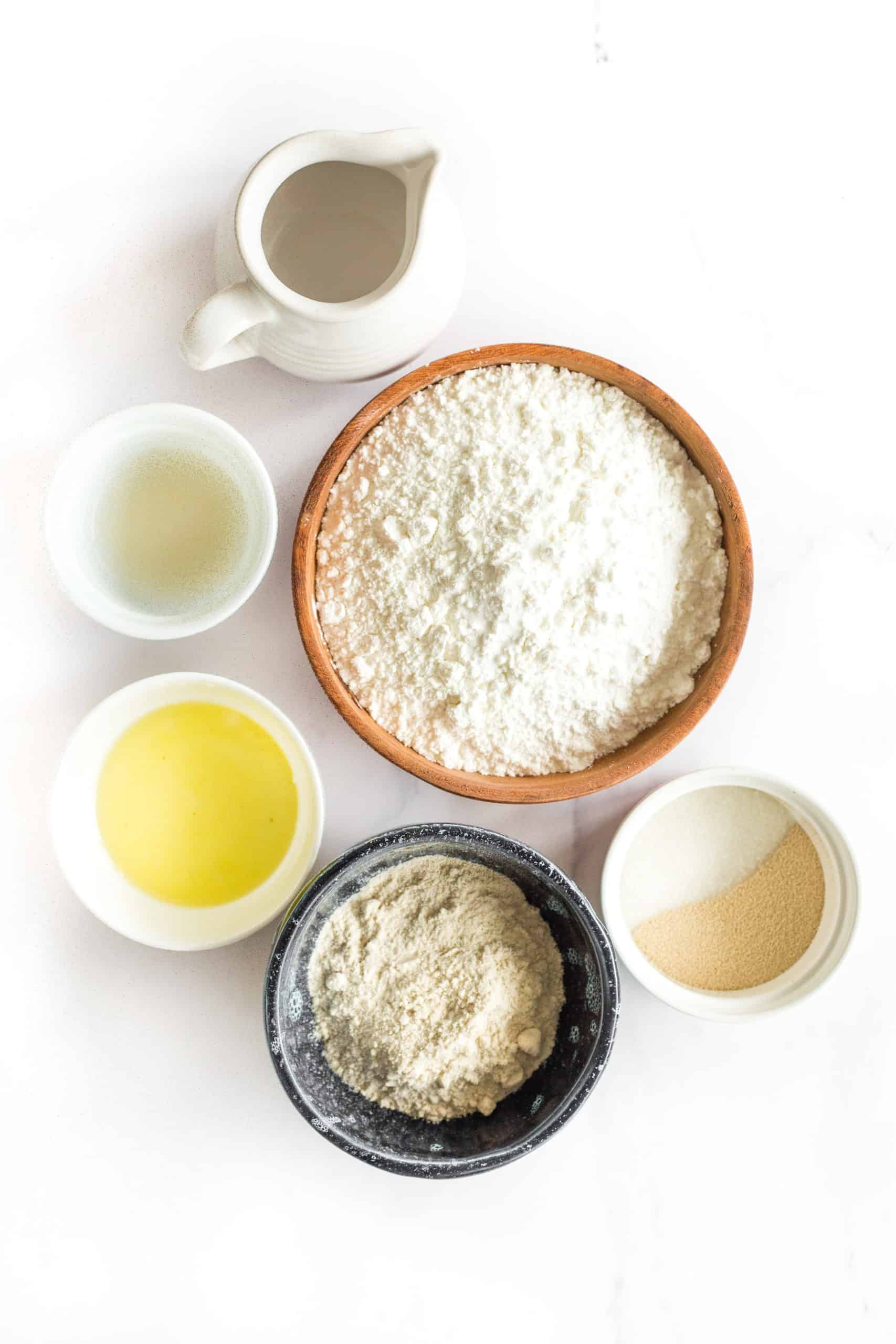 Ingredients for gluten-free and dairy-free pizza crust