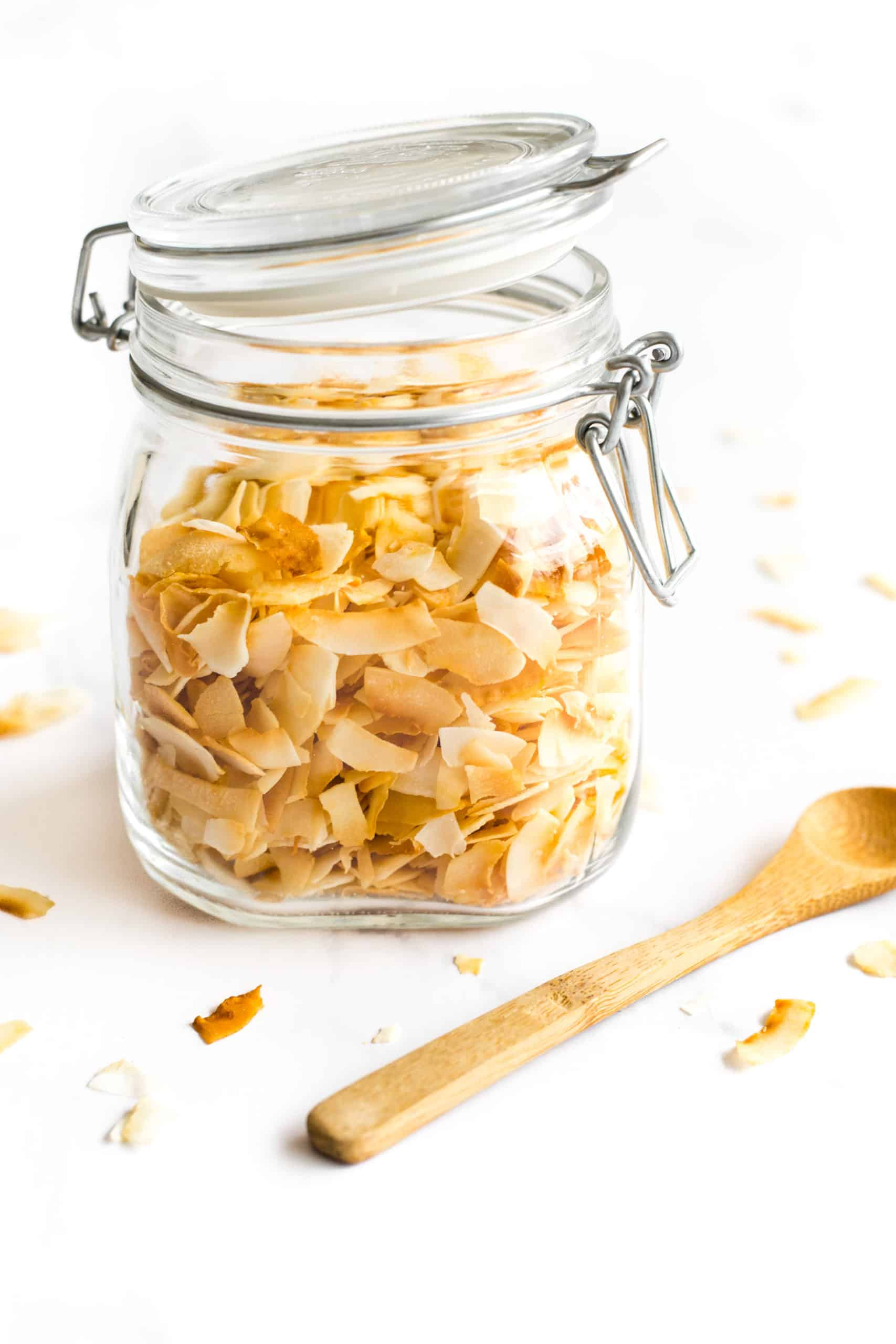 Coconut chips in a glass jar