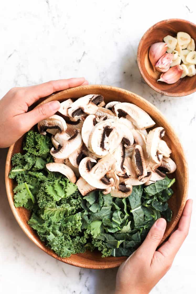 Warm Millet Bowl with Mushrooms & Kale (Gluten-free, Vegan)