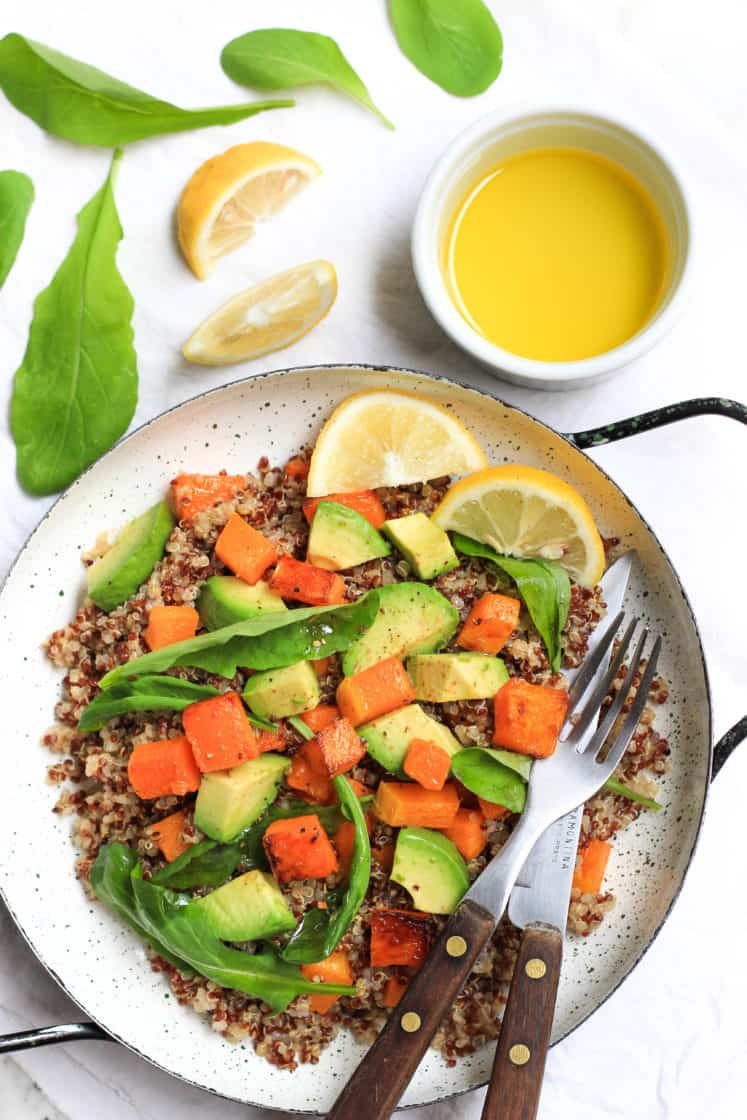 Warm Quinoa Salad with Butternut Squash, Avocado and Arugula (Gluten-free, Vegan)