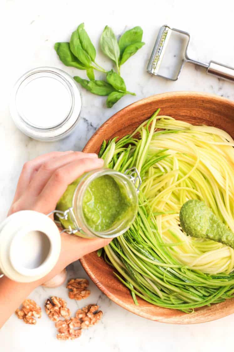 Zucchini Noodles with Walnut Pesto (Gluten-free, Vegan)